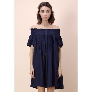 Chicwish Dresses - Chicwish off-shoulder navy dress
